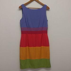 Maggy London 100% Silk Rainbow Dress
